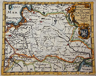 Antique map of Poland