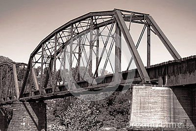 Old Antique Railroad Steel Truss Span Bridge