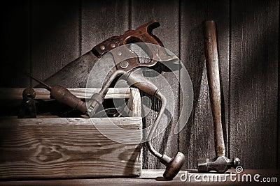 Old Antique Tools in Vintage Carpentry Workshop