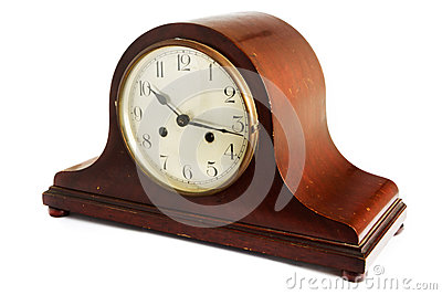 Old antique wooden clock on white