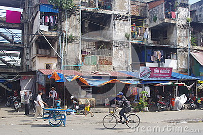 Old appartment in Phnom Penh Editorial Stock Image