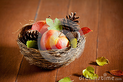 Old Apples In A Basket