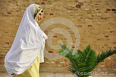 Old arab women with white veil Editorial Photo