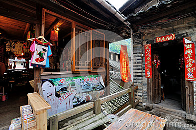 Old architecture with small shop in countryside of Editorial Photography