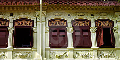 Old architectures - rustic asian Shophouses