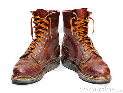 Old army paratroopers combat boots.