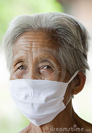 Old Asian woman with protective mask