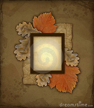Old autumn photo frame