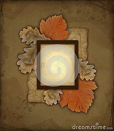 Old autumn photo frame