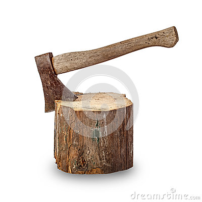 Free Old Axe Stuck In Log Stock Photos - 45858303