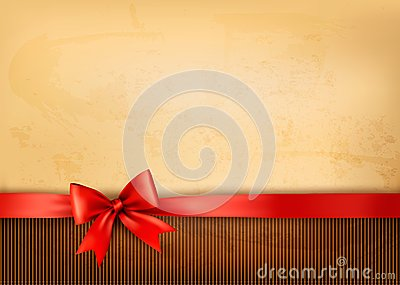 Old background with red bow and ribbon