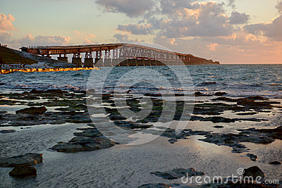 Old Bahia Honda bridge at sunrise