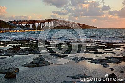 Old Bahia Honda bridge at sunrise