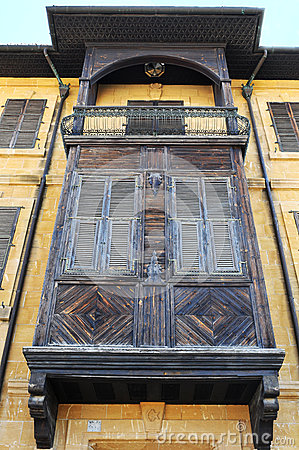 Old balcony and traditional wooden window stock photo for Balcony nicosia