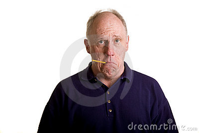 Old Bald Guy with Thermometer in Mouth