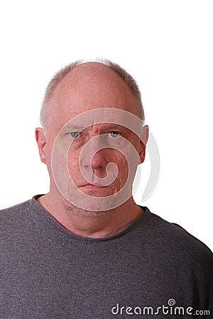 Old Balding Man Looking Stern