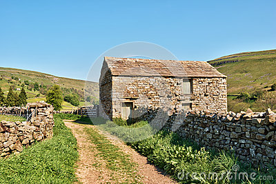 Old barn and dry stone wall