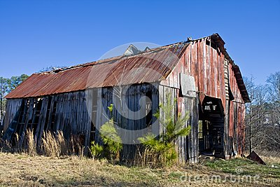 Old Barn with Rusty Roof