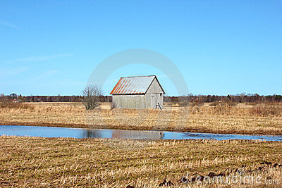 Old barn in the Swedish fields
