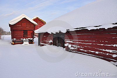 A Old Barns In Wintry Landscape Royalty Free Stock Photo - Image: 17586565