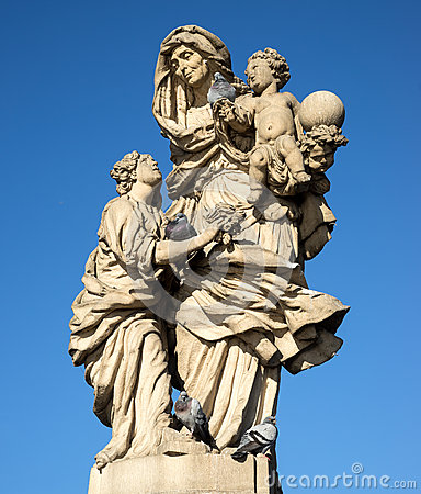 Free Old Baroque Statue Of St Anne On The Charles  Bridge Royalty Free Stock Photography - 64661257