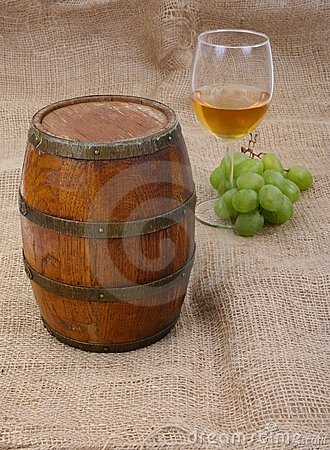 Old barrei and wine