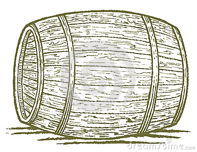 Pen and ink style illustration of an old barrel Whiskey Barrel Drawing
