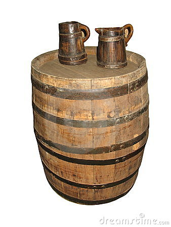 Old Barrel with two mugs isolated