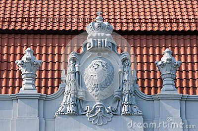 Old bas-relief on the roof