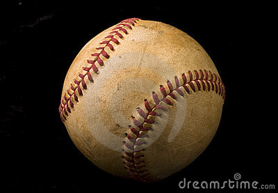 Old Baseball on Black