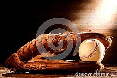 Old Baseball Glove and Ball in Nostalgic Light