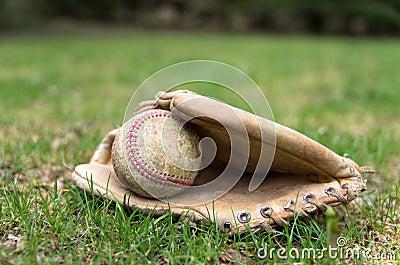 Old Baseball Glove and Ball