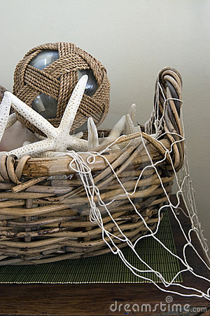 Old Basket with Marine Items