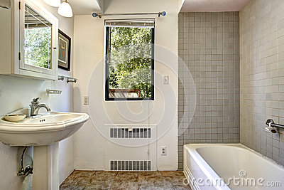 Old Bathroom With Grey Tile Wall Trim Stock Photo Image 44715853
