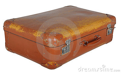 Old battered brown suitcase