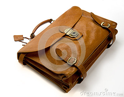 Old battered, leather  briefcase