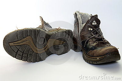 Old battered shoes