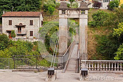 Old beautiful bridge in Bagni di Lucca, Italy