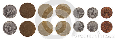 Old Belgian Coins Isolated on White