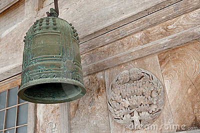 Old bell, front of Shinto temple, Japan