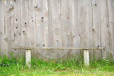 Old Bench Against Wooden Wall