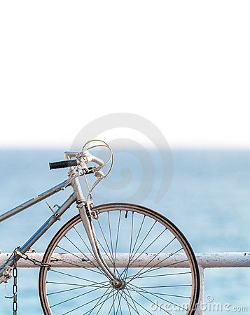 Old bicycle at sea side