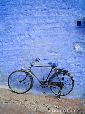 Old Bike on Blue Wall
