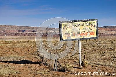 Old billboard in the desert