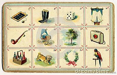 Old bingo card figurative