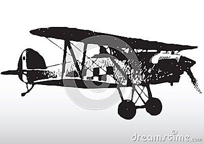 Old biplane in flight