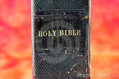 Old black Bible in hell