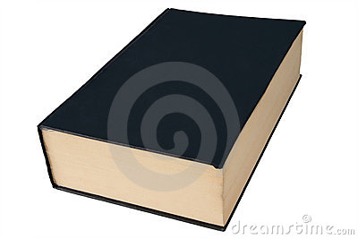 Old black large hardback book isolated on white.