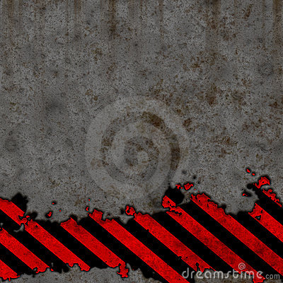 Old Black and Red Hazard Stripes Sign Wall