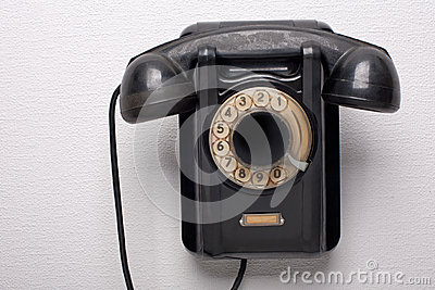 Old black rotational phone